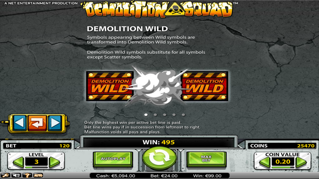 Характеристики слота Demolition Squad 1