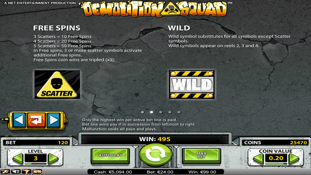 Характеристики слота Demolition Squad 2