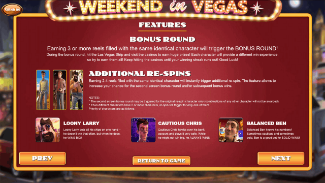 Характеристики слота Weekend In Vegas 9