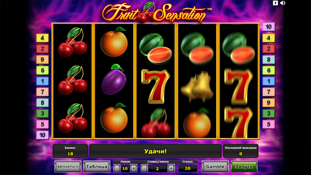 Характеристики слота Fruit Sensation 8